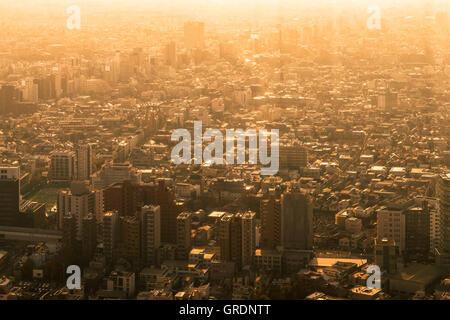 Tokyo cityscape at sunset - Stock Photo
