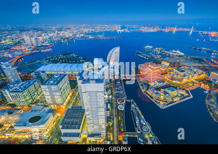 Aerial night view of Yokohama Cityscape at Minato Mirai waterfront district. - Stock Photo