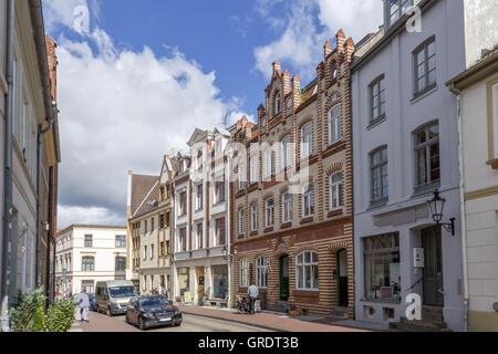 Side Street In Downtown Wismar Mecklenburg-Vorpommern - Stock Photo