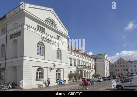 Building Of The Municipality In Downtown Wismar - Stock Photo