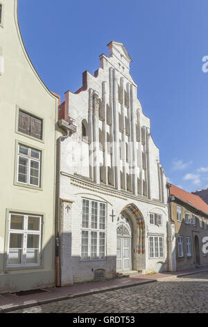 White Classicist House Of A Brewery In Wismar - Stock Photo