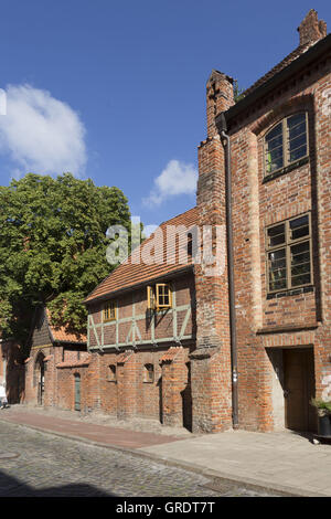 Medieval Half-Timbered House In The Center Of Wismar Mecklenburg-Vorpommern - Stock Photo
