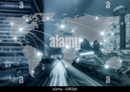 Network and world map on blur city use for global partnership network concept,Elements of this image furnished by - Stock Photo