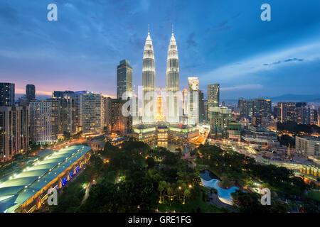 Kuala Lumpur skyline and skyscraper at night in Kuala Lumpur, Malaysia. - Stock Photo