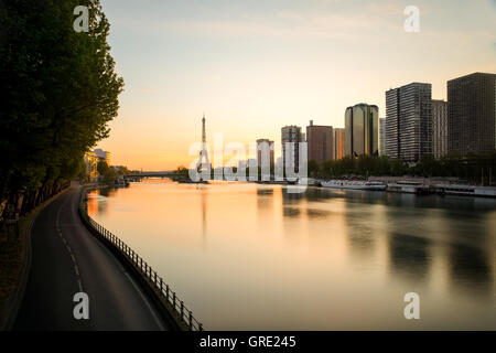 Paris skyline with Eiffel tower and Seine river in Paris, France.Beautiful sunrise in Paris, France. - Stock Photo