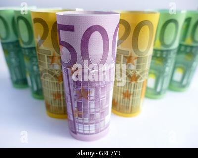Money, Euro, Banknotes - Stock Photo