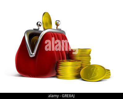 purse and coins - Stock Photo