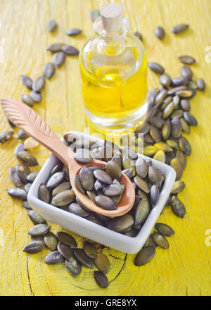 pumpkin seed and oil - Stock Photo