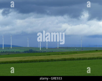 Storm Clouds, Rain Clouds Over The Landscape At Spiesheim In Alzey County, Rhinehesse, Low Elvira End Of May 2016 - Stock Photo