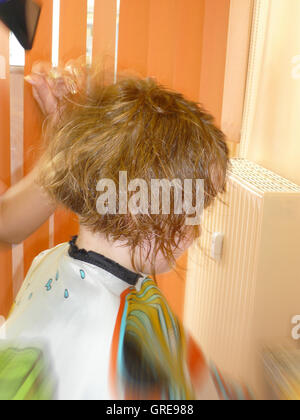 Child At The Hairdresser - Stock Photo