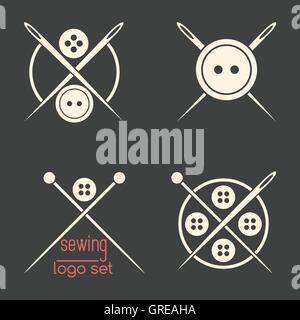 Set of sewing logotypes on dark grey background - Stock Photo