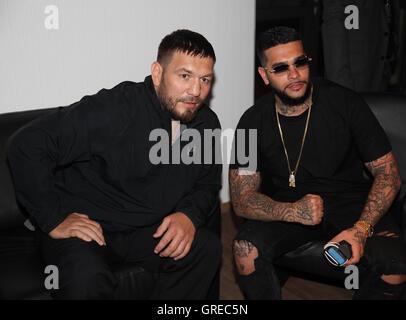 Ruslan Chagaev And Rap-Superstar Timati The Wba World Championship Fight Chagaev Vs. Pianeta On 11 July 2015 In - Stock Photo