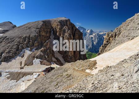 Dolomiti - Sass pordoi pass in Sella group, Trentino, Italy - Stock Photo
