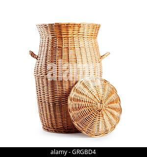 laundry basket with lid open empty wicker clothes box object isolated on white background