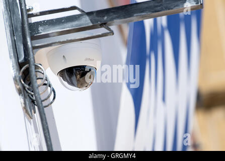 Avideo camera can be seen at a tent on the Oktoberfest grounds in Munich, Germany, 7 September 2016. This year's - Stock Photo