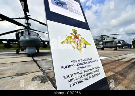 VLADIVOSTOK, RUSSIA - SEPTEMBER 6, 2016: The Mil Mi-8 attack helicopter displayed at an exhibition of military machinery - Stock Photo