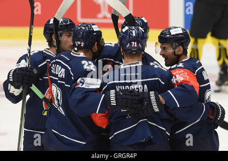 Ostrava, Czech Republic. 07th Sep, 2016. Vitkovice players celebrate during the Champions Ice Hockey League, group - Stock Photo