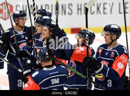 Ostrava, Czech Republic. 07th Sep, 2016. Vitkovice players celebrate victory in the Champions Ice Hockey League, - Stock Photo