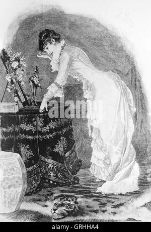 Bourgeois woman. Engraving by Artigas. La Ilustracion Artistica, 1885, Spain.1885.