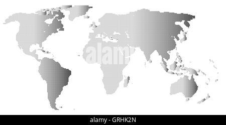 Halftone World Outline - Stock Photo