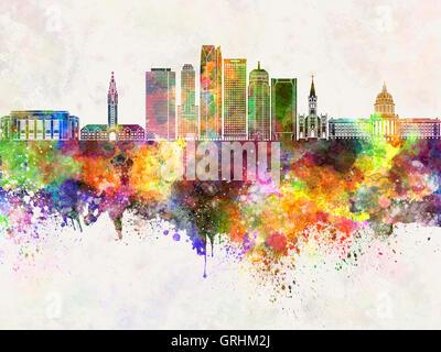 Oklahoma City skyline in watercolor background - Stock Photo