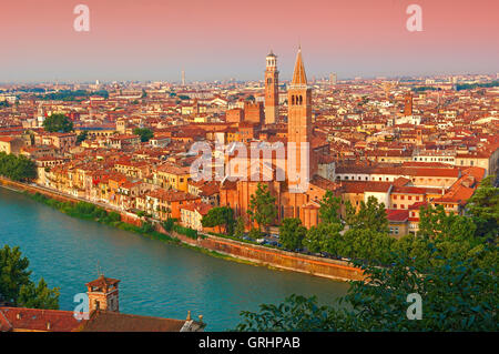 Santa Anastasia church, Torre dei Lamberti, Adige River, Verona, Veneto, Italy - Stock Photo