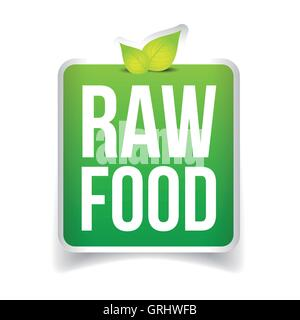 Raw Food label vector - Stock Photo