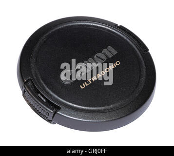 A Canon Ultrasonic lens cap isolated on a white background - Stock Photo