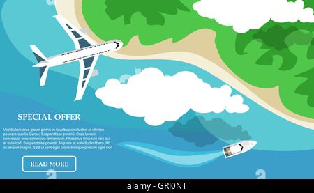 Travel in a flat style. Banner. Water tourism. Summer holidays, vacation. Vector - Stock Photo