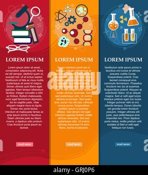 Set of banners chemistry and Physics design elements, symbols, icons. Vector - Stock Photo
