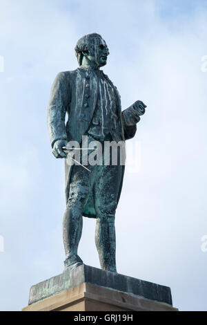 statue of Captain James Cook in Whitby, North Yorkshire, England - Stock Photo