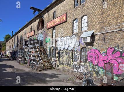 Restaurant 'Spiseloppen' in freetown Christiania, Copenhagen, the most 'real' restauant in Christiania. - Stock Photo