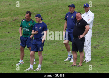 Ardleigh Green players look on during Ardleigh Green CC vs Westcliff-on-Sea CC, Shepherd Neame Essex League Cricket - Stock Photo