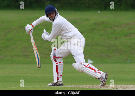 Tom Gentle in batting action for Ardleigh Green during Ardleigh Green CC vs Westcliff-on-Sea CC, Shepherd Neame - Stock Photo