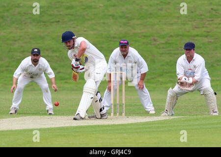 Alex Cason in batting action for Ardleigh Green during Ardleigh Green CC vs Westcliff-on-Sea CC, Shepherd Neame - Stock Photo