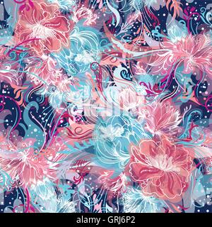 Seamless ornamental doodle sketch style background with watercolor effect and white lines in blue and pink colors - Stock Photo