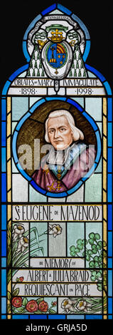 Stained glass window depicting St. Eugene of Mazenod, Church of St. Joseph, Colwyn Bay, Conwy, Wales, UK - Stock Photo