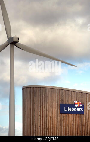 Wind turbine and lifeboat base, Blyth - Stock Photo