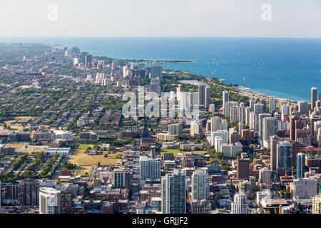 The famous Chicago skyline late in the afternoon from Willis Tower looking towards the Gold Coast area - Stock Photo