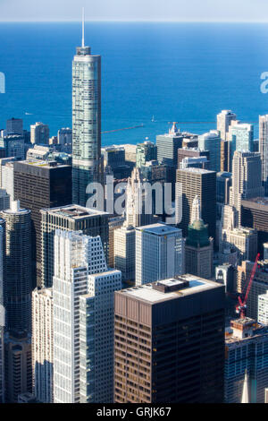 The famous Chicago skyline late in the afternoon from Willis Tower looking towards Trump Tower - Stock Photo