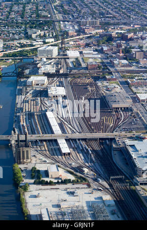The BNSF Railroad yard in Chicago, USA - Stock Photo