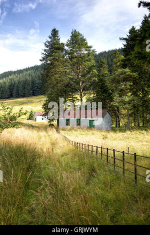 Red corrugated roof shed in the Tweedsmuir countryside. Scottish borders, Scotland - Stock Photo