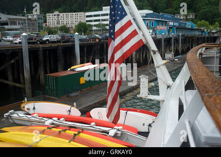 Cruises docked at the water front in Juneau dock Alaska. Downtown Juneau sits snugly between Mount Juneau, Mount - Stock Photo