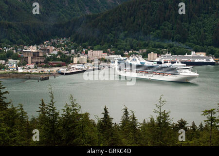 Star Princess and Celebrity Millennium cruises docked at the South Franklin dock, Juneau, Alaska. Sightseeing seaplanes - Stock Photo