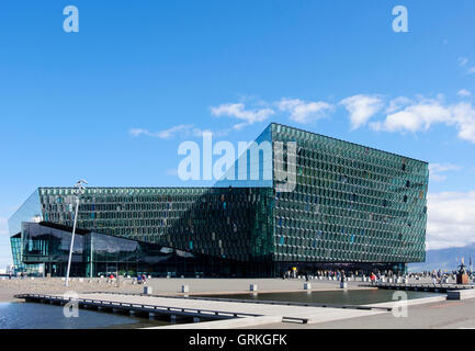 Harpa concert hall and conference centre in modern glass building on Reykjavik city waterfront. Saebraut, Reykjavik, - Stock Photo