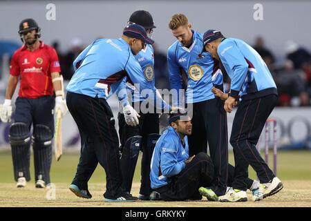 Northants players celebrate the wicket of Mark Pettini - Northamptonshire Steelbacks vs Essex Eagles - Royal London - Stock Photo