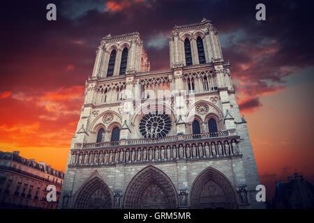 sunset Notre Dame de Paris. France. Europe - Stock Photo