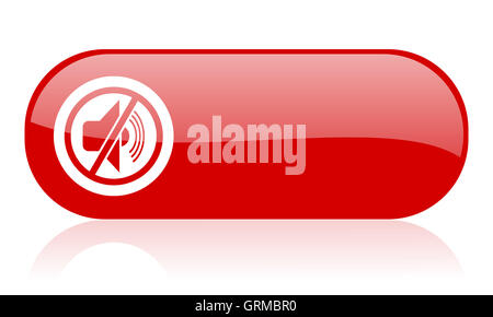 mute red web glossy icon - Stock Photo