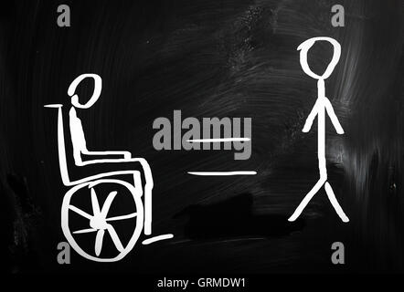 Handicapped sign drawn with chalk on a blackboard - Stock Photo