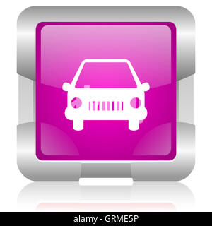 car pink square web glossy icon - Stock Photo
